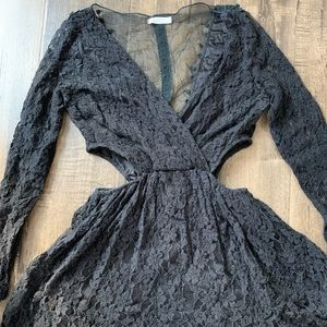 Black lace dress with sheer back w/ sides cut out